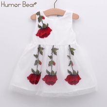 Humor Bear NEW Baby Girl Dress Birthday Dress lace infant Roses Infantil Bowknot Princess Wedding Dress Baby Girls Clothes