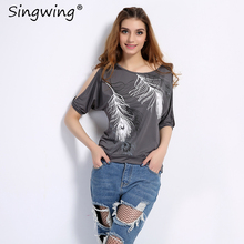 Singwing Feather Printed T-shirts Summer Women O- neck Loose Type Shirts Casual Off Shoulder Short-sleeved T-shirt Female(China)