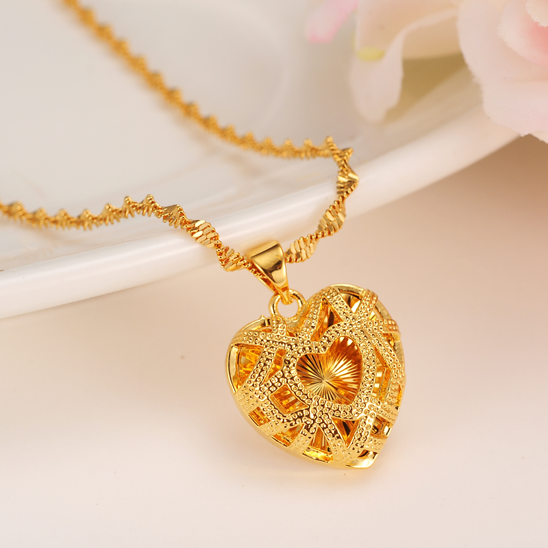 Heart-Necklacewith-Pendant-Women-Men-Lovers-s-Jewelry-Valentines-Gift-Wholesale-Gold-Color-Romantic-Fancy-DIY