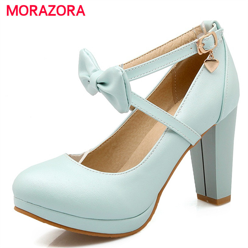 MORAZORA Sexy lady fashion shoes high heels 9cm shallow platform shoes buckle solid women pumps party shoes size 34-43<br>