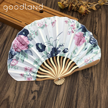 Free Shipping Wholesale 50pcs Bamboo Fabric Floral Japanese Folding Fan Pocket Fanwith Gift Bag Party Favor Wedding Gifts(China)