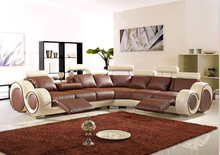 Living room sofa furniture with modern corner leather sofas / couches for home sofa(China)