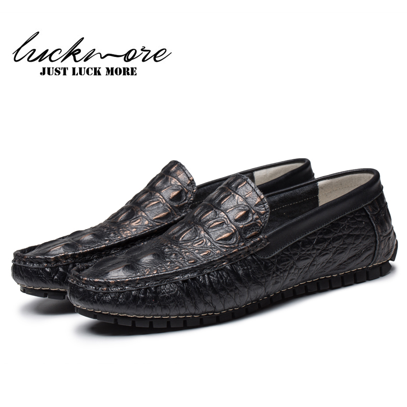 2017 Genuine Leather Shoes Men Fashion Alligator Cow Leather Slip on Man Casual Loafers Pigskin Lining Nude Flats High Quality<br>