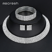 Mecresh Crystal Bridal Jewelry Sets Silver Color Rhinestone Necklace Wedding Engagement Jewelry Sets for Women TL299+SL116(China)
