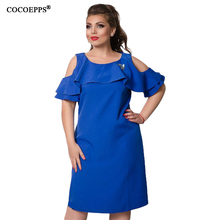 Buy COCOEPPS Fashion New Solid Women Dresses 2017 Sexy Plus Size Off-Shoulder Female Dress Big Size Ruffles Sleeve Blue Vestidos 6XL for $15.98 in AliExpress store
