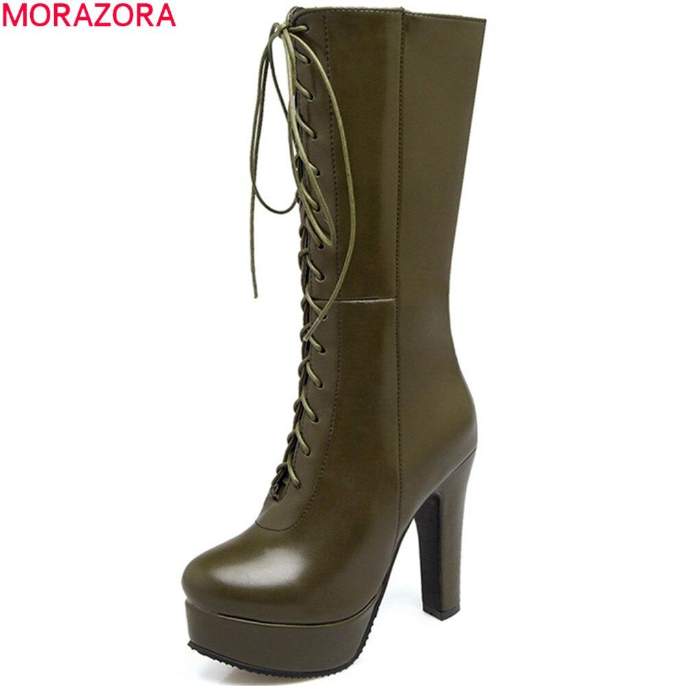 MORAZORA fashion army green black white women boots round toe zipper ladies boots cross tied platform mid calf boots big size<br>