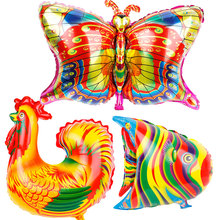 Africa fish Cock Balloons Butterfly foil globos 10pcs Colorful animals rooster balloon birthday party decorations kids toys