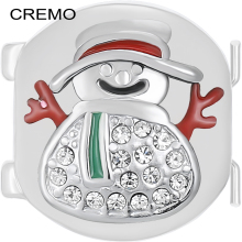 Cremo Winter Snowman Links Modular Charm Inventive Jewelry Accessories Changeable Elastic Connector Red Enamel for Christmas(China)