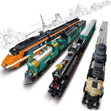 Model building kits compatible with  city trains rail KTX 3D blocks Educational model building toys hobbies for children