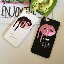 Cool super star Sexy girl kylie jenner lips Hard plastic Cases Cover For iPhone 5S SE 6 6S 6Plus 7 7Plus Black white back cover