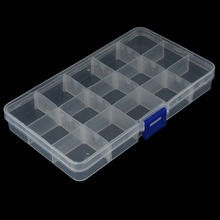 1Pcs Plastic Clear Fishing Track Box With 15 Compartments Convenient Fishing Lure Tool Case Tackle Boxs Wholesale(China)