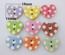 WBNNKS Big Polka Dots printed 16mm*18mm natural wood heart buttons mix 150pcs garment accessories(China)