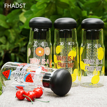 600ML Water Bottle Fruit Glass Transparent Drink Water Bottles Cute Sports Tumbler Perfect Filter Gym shaker Best Birthday Gift