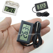 1PC Mini LCD Display Inlay Digital Thermometer Probe Refrigerator/Fish Tank Temperature Tester( -50C~110C ) Include Batteries(China)
