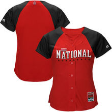 MLB Women's Red Alternate National League 2015 MLB All-Star Game Batting Practice Cool Base Jersey(China)