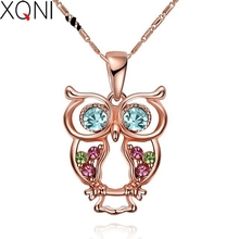 XQNI Brand Trendy Rose Gold Color Owl Pendant Necklace Nnique Design Fashion Collection Animal Charm Chain Necklace Jewelry