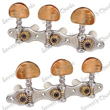 A Set Chrome Classical Guitar String Tuning Peg Machine Heads with Coffee Button