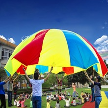 Free Shipping 3M/3.6M/5M Child Kid Sports Development Outdoor Rainbow Umbrella Parachute Toy Jump-sack Ballute Play Parachute