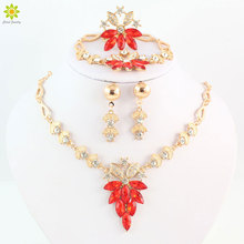 Wholesale Wedding Accessories Crystal Gold Color Bridal Jewellery Set Vintage Dubai Woman Costume African Jewelry Sets