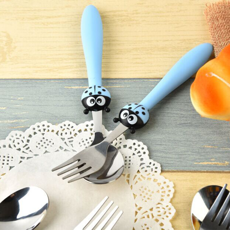 Keythemelife-2pcs-set-Cartoon-Ladybugs-Kids-Dinnerware-Sets-Children-Tableware-Suit-Stainless-Steel-Fork-Set-2D (1)