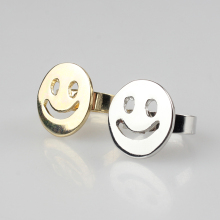 Free Shipping 2016 New Fashion Silver Adjustable Smiling Face Ring For Women Day And Party JM-JZ0007