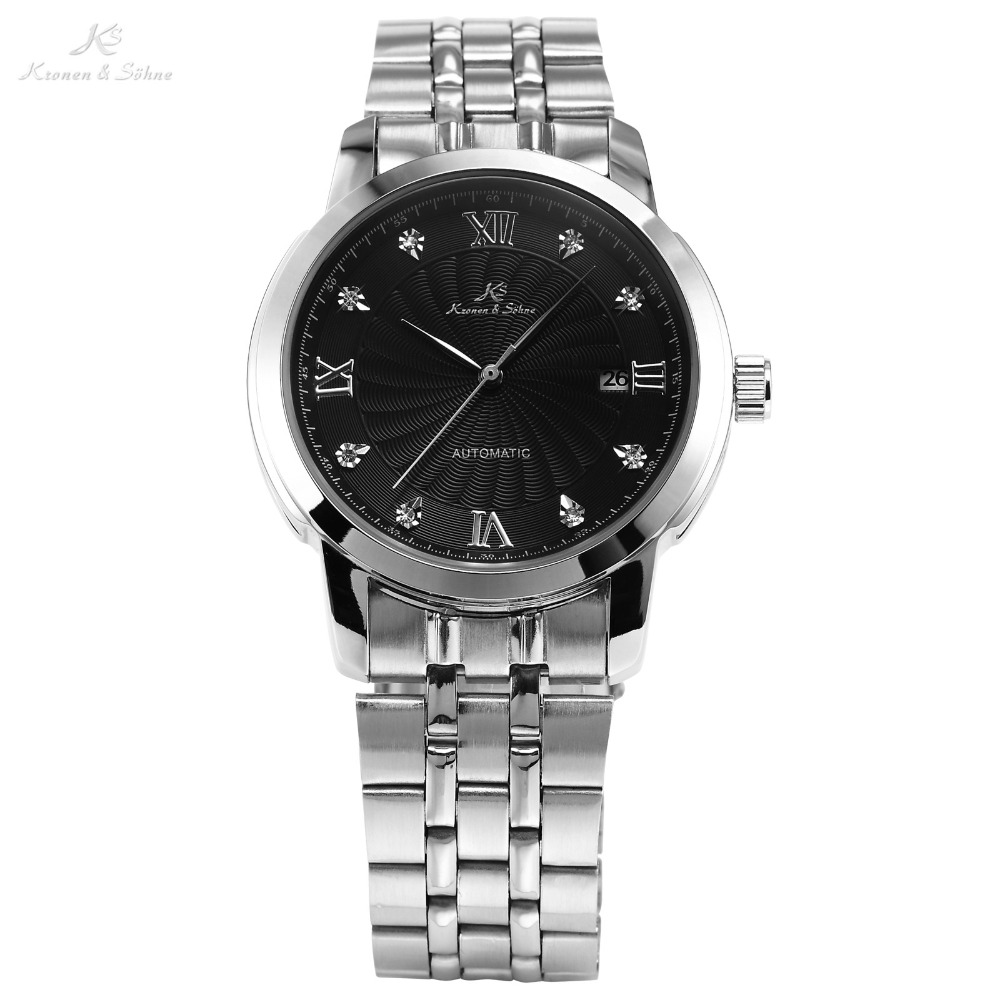 KS Luxury Date Display Black Dial Silver Stainless Steel Band Analog Mens Business Automatic Mechanical Wrist Watch Gift /KS090<br>