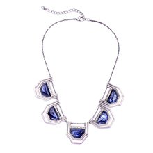 Royal Blue Stone Statement Chunky Necklace for Women Jewelry Modern Designer Inspired Statement Necklaces