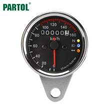 Partol Motorcycle Speedometer Odometer Gauge ATV Bike Scooter Backlit Dual Speed Meter with LED Indicator DC 12V 0~160km/h(China)