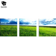 GenDi 3pcs / set Grassland Landscape Oil Canvas Painting Modern Canvas Wall Art Blue Sky Wall Decoration Home Decoration Artwork