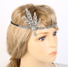 Great Gatsby Headband Bridal Hair Accessories Rhinestone Beaded Sequin Hair Band Vintage Party Headpiece Women hair jewelry(China)