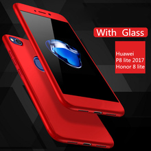 "MOFi Fitted Case For Huawei P8 Lite 2017 Case With Tempered Glass Plastic Cases Cover 360 Degree Hard Full Cover Complete 5.2""(China)"