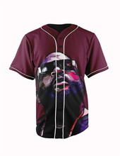 Real American Size rick  ross 3D Sublimation Print Custom made Button up baseball jersey plus size