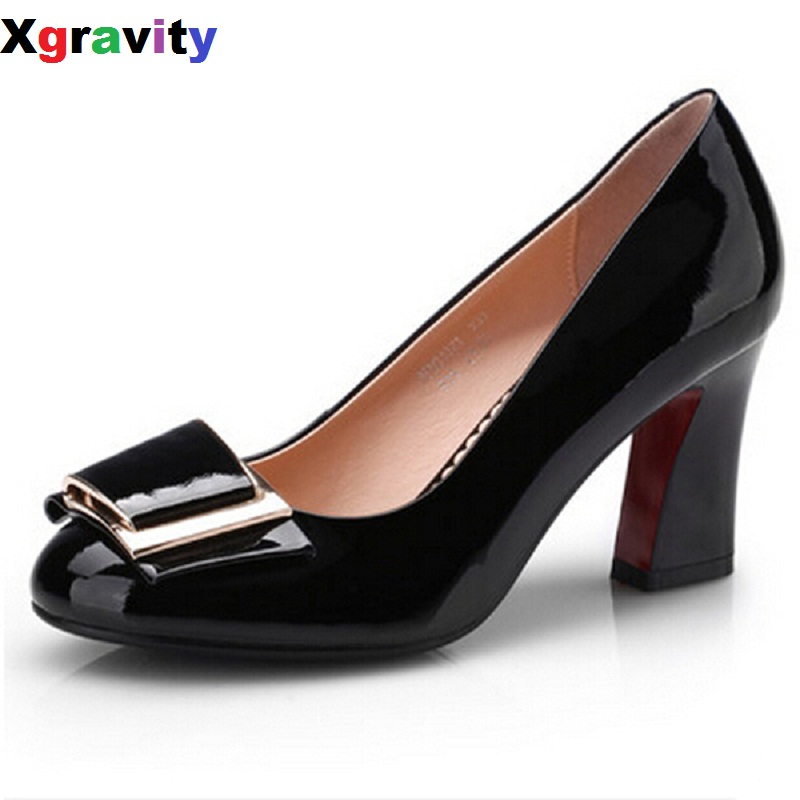 2017 High Heel Shoes Fashion Sexy Lady Shoes Elegant Genuine Leather Patent Round Toe Chunky Shoes Comfort OL Footwear C110-1<br>