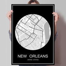 NEW ORLEANS USA Abstract World City Map Print Poster Print on Paper or Canvas Wall Sticker Bar Cafe Living Room Home Decoration