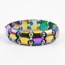hot sale rainbow color magnetic hematite beads bracelet bio-magnetic anklet weight loss jewelry HB1020