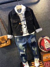 Baby Clothing sets White Shirt Cartoon Blouse + Denim Jacket Coat + Jeans Denim Pants Three Piece suit for boy Cool clothes 2017