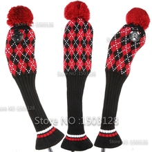 Golf New 3Pcs 1# 3# 5# One Set Black Red Wool Knit Pom Covers Golf Clubs Set Driver 3# 5# Fairway Wood headcovers