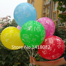 50pcs/lot  Mixed color car balloons 12'' 2.8g latex round printed  balloons kids toys balloons birthday party Free shipping
