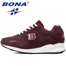 BONA New Suede Style Men Running Shoes LaceUp Sport Shoes Outdoor Walking Sneakers Comfortable Athletic Shoes Fast Free Shipping(China)