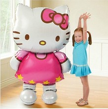 Large 80x48cm Hello Kitty Cat foil balloons cartoon birthday decoration wedding party inflatable air balloons Classic toys