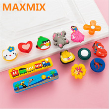 MAXMIX 5PCS Children's room furniture cartoon handle Environmental protection soft wardrobe drawer cabinet knobs and handles(China)