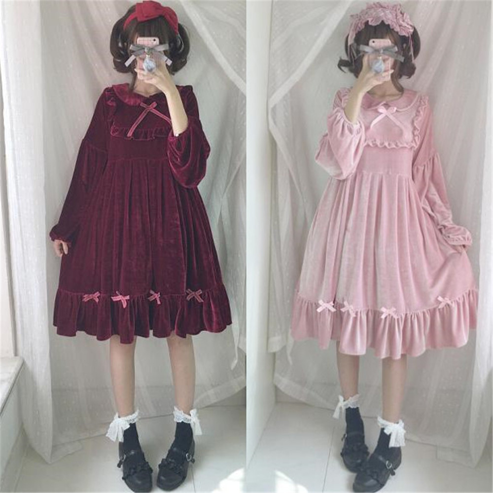 Spring Fashion Women Lace Bow Velour Dress Japanese Lolita Kawaii Pink Girls Dress Cute Plus Size Long Sleeve Ruffle Dresses