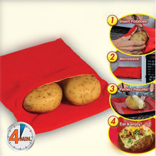 MOSEKO Red Washable Potato Bag For Microwave Oven Quick Fast (Cooks 4 Potatoes At Once) Steam Pocket In 4 Minutes Easy Cooking(China)
