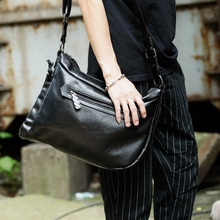 2017 New PU Leather Men Shoulder Messenger Bags Fashion Trend School Traveling Casual Single Satchel Male Cross Body Bag(China)