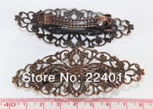 Free Shipping 20pcs/79x35mm Ancient Copper Tone Filigree Flower Wraps Arch French Barrette Clips For Hair Accessories Connectors