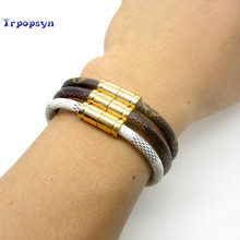 2017 Hot Sale New Fashion Luxury Brand Jewelry 316L Stainless Steel Bracelets Bangles pulseiras Leather Bracelets For Women/Men