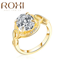 ROXI Rings Classic Sparkling Big Oval Cubic Zirconia CZ Wedding Engagement Gold Color Forever Ring For Women Party Body Jewelry