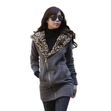 2017 New Winter casual coat women long-sleeved hooded Leopard Print harajuku warm coat big yards thick 3 Colors hoodies(China)
