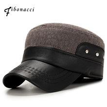 Fibonacci clásico hombres earflap Sombreros militares algodón patchwork de  cuero ajustable papá sombrero flatcap(China 9553a04ced1