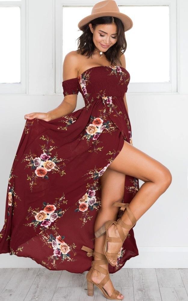 LOSSKY Off Shoulder Vintage Print Maxi Summer Dress 31